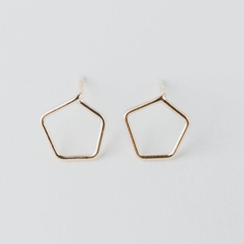 boucles d'oreilles puces en vermeil composées d'un motif géométrique pentagonal en fil.